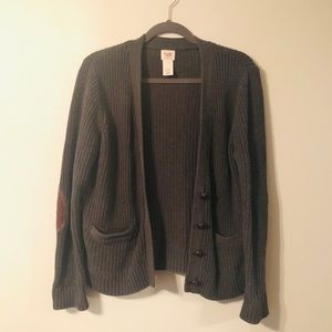 Cardigan sweater with elbow patches